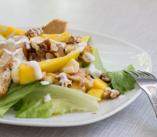 Apfel-Mangosalat mit Hühnerbruststreifen